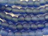 Blue Recycled Glass Beads 13-14mm - Africa (RG88)