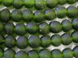 Green Olive Recycled Glass Beads 14-15mm - Africa (RG90)