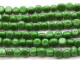 Green Triangular Glass Beads 5-6mm (JV505)
