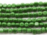 Green Triangular Glass Beads 5-6mm (JV505)