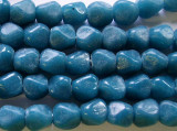 Teal Pentagonal Nugget Glass Beads 8-10mm (JV414)