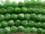 Olive Green Pentagonal Nugget Glass Beads 8-10mm (JV417)