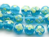 Lime Green & Aqua Glass Beads 11-13mm (JV369)