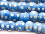 Blue w/Polka Dots Round Glass Beads 10mm (JV419)