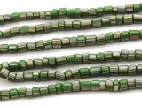 Green w/Stripes Glass Beads 4-6mm (JV523)