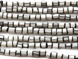 Black & White Glass Beads 5-6mm (JV527)