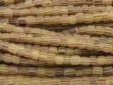 Sand w/Brown Stripes Glass Beads 5-6mm (JV538)