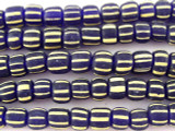 Blue w/Tan Stripes Glass Beads 4-6mm (JV539)