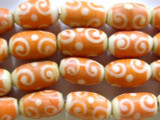 Orange Swirl Glass Beads 16-18mm (JV391)