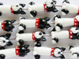 Black & White Dog Lampwork Glass Beads 30mm (LW1333)