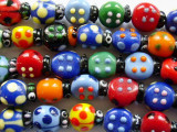 Multicolored Ladybug Glass Beads 13mm (LW1288)