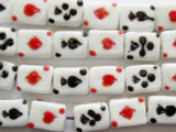 Playing Cards Lampwork Glass Beads 14mm (LW1289)