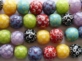 Multicolored w/Polka Dots Lampwork Glass Beads 12mm (LW1295)