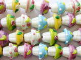 Cupcake Lampwork Glass Beads 14-16mm (LW1297)