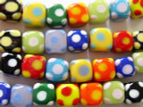 Polka Dot Cube Glass Beads 9-10mm (LW1298)