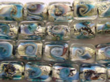 Clear w/ Foil Lampwork Glass Beads 16mm (LW1299)