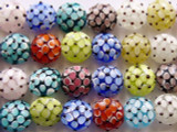 Floral Multicolored Glass Beads 15mm (LW1300)