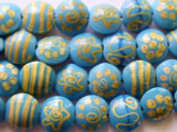 Turquoise Puffy Round Lampwork Glass Beads 19-20mm (LW1303)