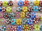 Transparent Multicolored w/Flowers Glass Beads 9-10mm (LW1330)