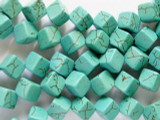Turquoise Magnesite Rhomboid Cube Gemstone Beads 8mm (GS1976)