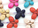 Multi-Color Magnesite Butterfly Gemstone Beads 25mm (GS1984)