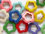 Multi-Color Magnesite Flower Ring Beads 24mm (GS1986)