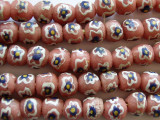 Salmon, Navy, White & Yellow Sandcast Glass Beads 10-11mm (SC763)