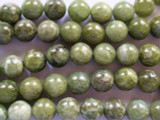 Green Garnet Round Beads 13-14mm (GS2018)