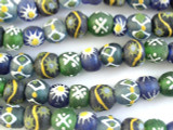 Painted Recycled Glass Beads 12-14mm - Africa (RG452)