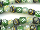 Painted Recycled Glass Beads 12-14mm - Africa (RG454)