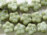 Flower 16-17mm - Glazed Sage Porcelain Beads (PO350)