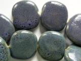 Tabular 30mm - Glazed Purple Porcelain Beads (PO357)