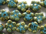 Flower 16-17mm - Glazed Turquoise Porcelain Beads (PO308)