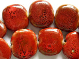 Tabular 30mm - Glazed Rusty Red Porcelain Beads (PO258)