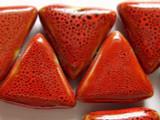 Triangle 28mm - Glazed Rusty Red Porcelain Beads (PO263)