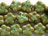 Flower 16-17mm - Glazed Olive Porcelain Beads (PO275)