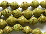 Bicone 13mm - Glazed Lime Porcelain Beads (PO331)