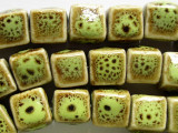 Cube 12mm - Glazed Lime Porcelain Beads (PO332)