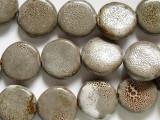 Round Tabular 20mm - Glazed Mocha Porcelain Beads (PO346)