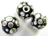 Black Ceramic & Metal Bead 17mm (CM26)