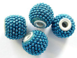Metallic Blue Ceramic & Metal Bead 15mm (CM34)