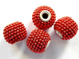 Metallic Red Ceramic & Metal Bead 15mm (CM35)