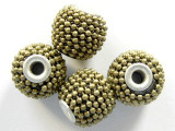 Metallic Khaki Ceramic & Metal Bead 14mm (CM37)
