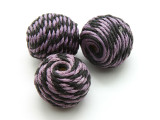 Cotton Wrapped Bead - Black & Purple 25mm (CT140)