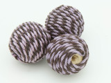 Cotton Wrapped Bead - Brown & Purple 25mm (CT141)