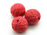 Cotton Wrapped Bead - Magenta & Orange 25mm (CT143)