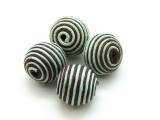 Cotton Wrapped Bead - Baby Blue & Brown 18mm (CT144)