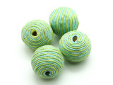 Cotton Wrapped Bead - Lime Green & Aqua 22mm (CT146)