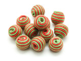 Cotton Wrapped Bead - Green & Red 14mm (CT148)