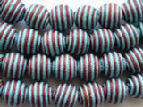 Cotton Wrapped Bead - Aqua Blue & Red 14mm (CT150)
